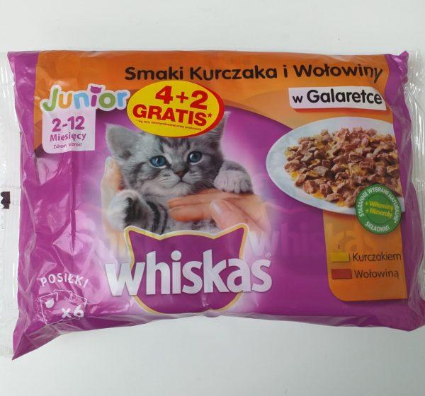 WHISKAS Junior Kurczak i Wołowina w Galaretce 4x100g + 2×100 gratis